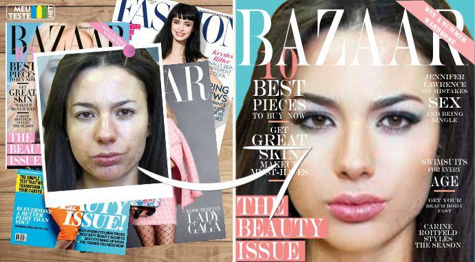 Seja sofisticada, elegante e provocante. Faça sua capa da revista Harper s Bazaar